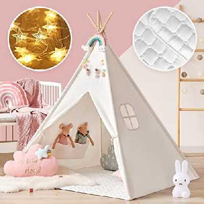 Tipi Enfant avec Tapis & Lumières & Mallette de Transport, Tente Enfant Maison Cabane Enfant intérieure extérieure- Blanc Toile Enfants Jouent Tente