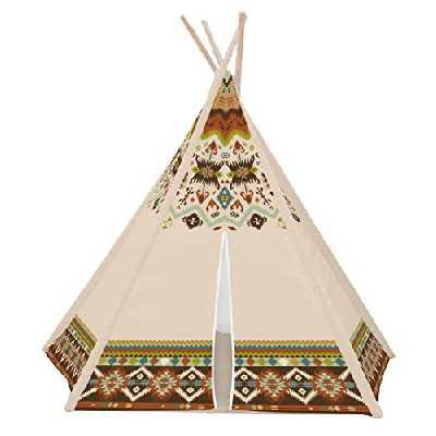 Achoka Tente Tipi Indien avec Sol en Polyester Beige 120X120x 150 Set pour Enfant Agé de 0 à 7 ans Jeux Créatifs pour Garçons et Filles- Intérieur Extérieur