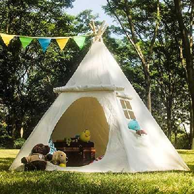 LAVIEVERT Tente de jeu Tipi, pour enfant, avec deux fenêtres, 100% coton