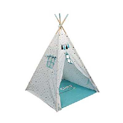 THE HOME DECO FACTORY MO0482 Tipi Garçon, Polyester, Bleu, 125 x 120 x 165 cm