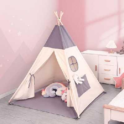 besrey Tente Enfant Intérieur Tente Chambre Tipi Tente Enfant Pliable avec Guirlande Lumineuse 6M 40LED