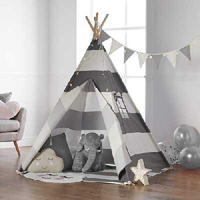 Haus Projekt Tipi Enfant avec Guirlande, Drapeaux et Base imperméable – Tente Teepee pour l'Imaginaire des Enfants, 100% Coton, intérieur / extérieur (Gris/Blanc) Certifié CE